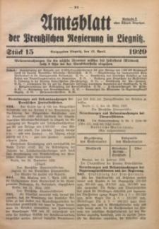Amtsblatt der Preußischen Regierung in Liegnitz, 1929, Jg. 119, Nr. 15
