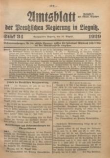 Amtsblatt der Preußischen Regierung in Liegnitz, 1929, Jg. 119, Nr. 34