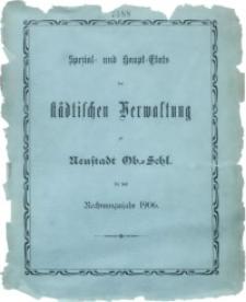Spezial- und Haupt-Etats der Städtischen Verwaltung zu Neustadt Ob.-Schl. für das Rechnungsjahr 1906