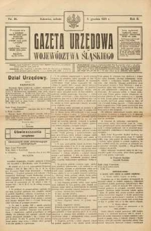 Gazeta Urzędowa Województwa Śląskiego, 1923, R. 2, nr 46