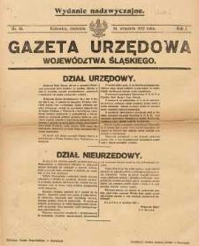 Gazeta Urzędowa Województwa Śląskiego, 1922, R. 1, nr 15. Wydanie nadzwyczajne