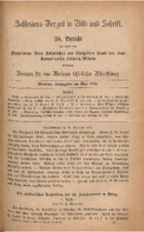 Schlesiens Vorzeit in Bild und Schrift. 38. Bericht