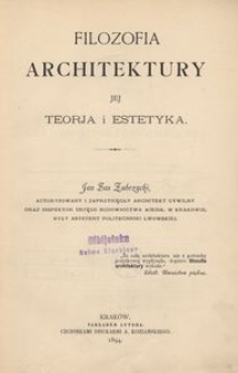 Filozofia architektury. Jej teorja i estetyka