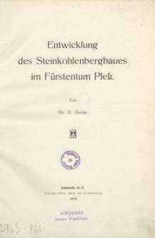 Entwicklung des Steinkohlenbergbaus im Fürstentum Pless