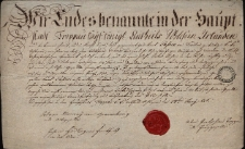 Świadectwo wyzwolenia czeladnika kominiarskiego Karola Passka z Cieszyna, podpisane przez cech kominiarzy w Opawie 24.06.1820 r.