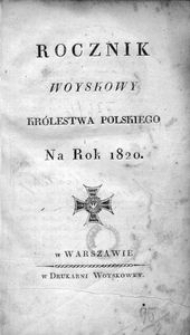 Rocznik Woyskowy Królestwa Polskiego. Na rok 1820