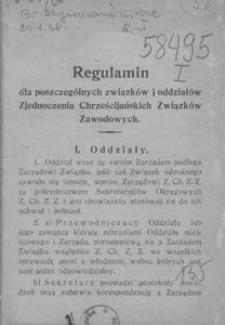 Regulamin dla poszczególnych związków i oddziałów Zjednoczenia Chrześcijańskich Związków Zawodowych