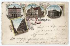 Gruss aus Zalenze. R. Jochimski's-Wohnhaus ; Gemeinde-Verwaltungs-Gebäude ; Ignatz Stanislowski'sches-Wohnhaus ; Kaiser Wilhelm-Strasse