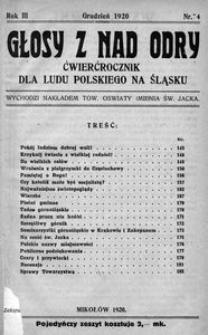 Głosy z nad Odry, 1920, R. 3, nr 4