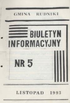 Biuletyn Informacyjny Gmina Rudniki 1993, nr 5.