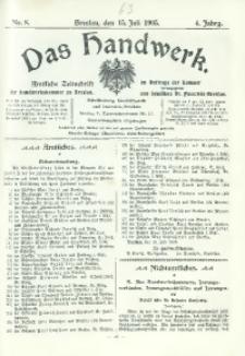 Das Handwerk, 1905/1906, Jg. 4, nr 8