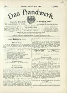 Das Handwerk, 1906/1907, Jg. 5, nr 4