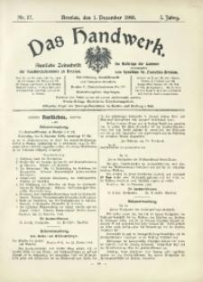 Das Handwerk, 1906/1907, Jg. 5, nr 17