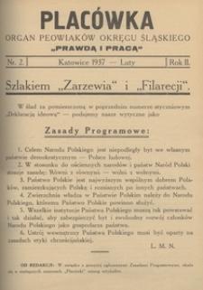 Placówka. Organ Peowiaków Okręgu Śląskiego, 1937, R. 2 , nr 2