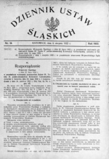 Dziennik Ustaw Śląskich, 04.08.1922, nr 12