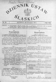 Dziennik Ustaw Śląskich, 28.08.1922, nr 18