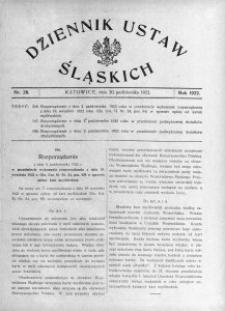Dziennik Ustaw Śląskich, 20.10.1922, nr 28