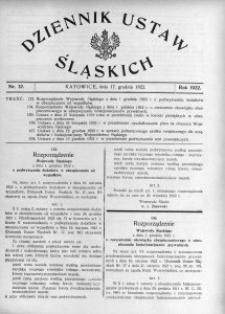 Dziennik Ustaw Śląskich, 17.12.1922, nr 37