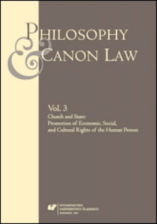 Philosophy and Canon Law. Vol. 3, Church and state : promotion of economic, social, and cultural rights of the human person
