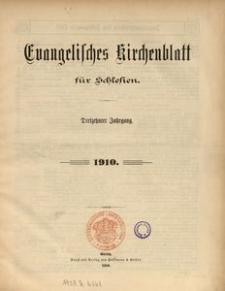 Evangelisches Kirchenblatt für Schlesien. Inhaltsverzeichnis des Jahrganges 1910