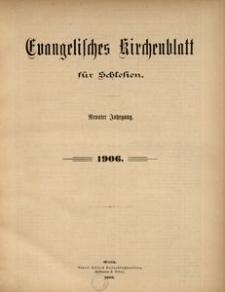 Evangelisches Kirchenblatt für Schlesien. Inhaltsverzeichnis des Jahrganges 1906