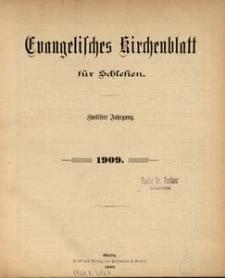 Evangelisches Kirchenblatt für Schlesien. Inhaltsverzeichnis des Jahrganges 1909