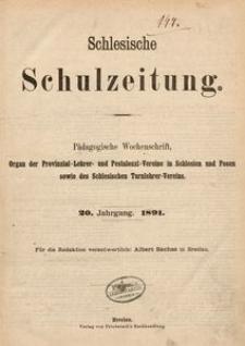 Schlesische Schulzeitung, 1891, Jg. 20, Inhalts-Verzeichnis