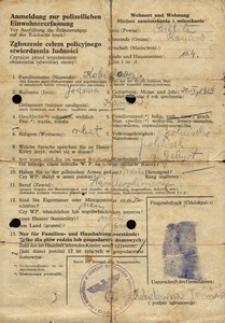 Anmeldung zur polizeilichen Einwohnererfassung