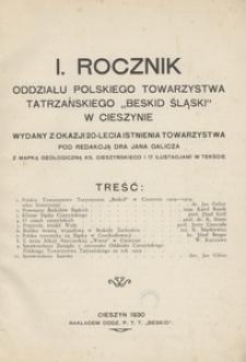 """Rocznik Oddziału Polskiego Towarzystwa Tatrzańskiego """"Beskid Śląski"""" w Cieszynie 1930, R. 1"""