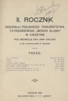 """Rocznik Oddziału Polskiego Towarzystwa Tatrzańskiego """"Beskid Śląski"""" w Cieszynie 1931, R. 2"""