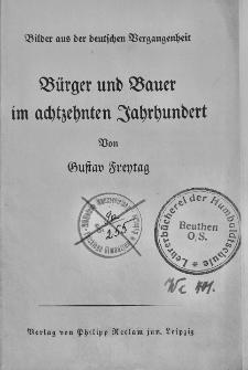 Bilder aus der deutschen Vergangenheit. Bürger und Bauer im achtzehnten Jahrhundert