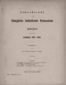 Jahresbericht über das Königliche katholische Gymnasium zu Leobschütz. Schuljahr 1885-1886.