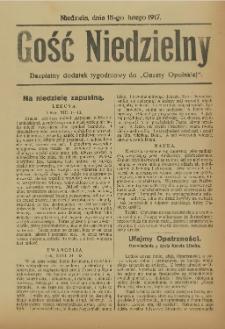 """Gość Niedzielny. Bezpłatny dodatek tygodniowy do """"Gazety Opolskiej"""", 1917-02-18"""