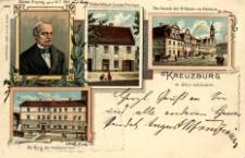 Kreuzburg in Oberschlesein. Gustav Freytag. Geb.d.13.7.1816. Geburtshaus Gustav Freytag's. Das Viereck der 12 Häuser mit Rathaus. Die Burg der Kreuzherren
