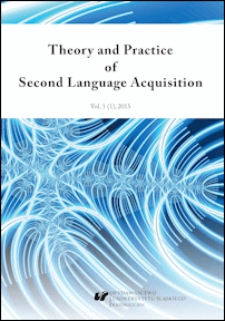 Theory and Practice of Second Language Acquisition : Vol. 1 (1) 2015