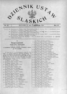 Dziennik Ustaw Śląskich, 03.10. [właśc. 30.09.] 1924, R. 3, nr 21