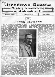 Urzędowa Gazeta Gminy Izraelickiej w Katowicach, 1934, nr 57