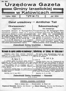 Urzędowa Gazeta Gminy Izraelickiej w Katowicach, 1934, nr 59
