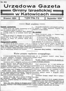 Urzędowa Gazeta Gminy Izraelickiej w Katowicach, 1934, nr 63