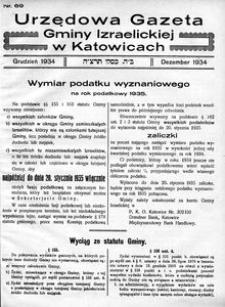 Urzędowa Gazeta Gminy Izraelickiej w Katowicach, 1934, nr 69