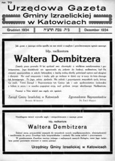 Urzędowa Gazeta Gminy Izraelickiej w Katowicach, 1934, nr 70