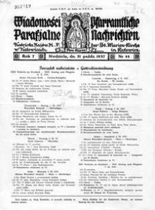 Wiadomości Parafjalne Kościoła Najśw. M. P. w Katowicach, 1937, R. 7, nr 44