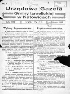 Urzędowa Gazeta Gminy Izraelickiej w Katowicach, 1932, nr 2