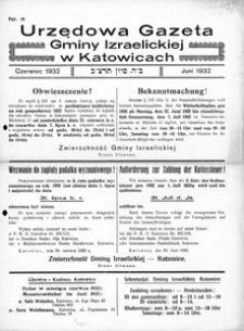Urzędowa Gazeta Gminy Izraelickiej w Katowicach, 1932, nr 11