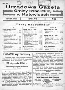 Urzędowa Gazeta Gminy Izraelickiej w Katowicach, 1936, nr 95