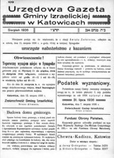 Urzędowa Gazeta Gminy Izraelickiej w Katowicach, 1936, nr 109