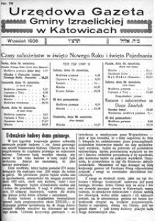 Urzędowa Gazeta Gminy Izraelickiej w Katowicach, 1936, nr 111