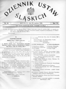 Dziennik Ustaw Śląskich, 20.06.1928, R. 7, nr 15