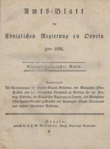Amts-Blatt der Königlichen Regierung zu Oppeln pro 1836, 21 Bd.