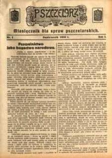 Pszczelarz, 1930, R. 1, nr 1